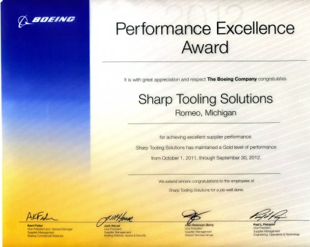 Fixtures, Tooling, Modeling for Aerospace, Defense, and Automotive - Sharp Tooling Solutions - Boeing_Award